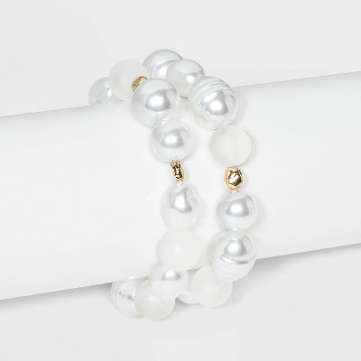 Pearl Stretch Bracelet 2pc - A New Day™ White