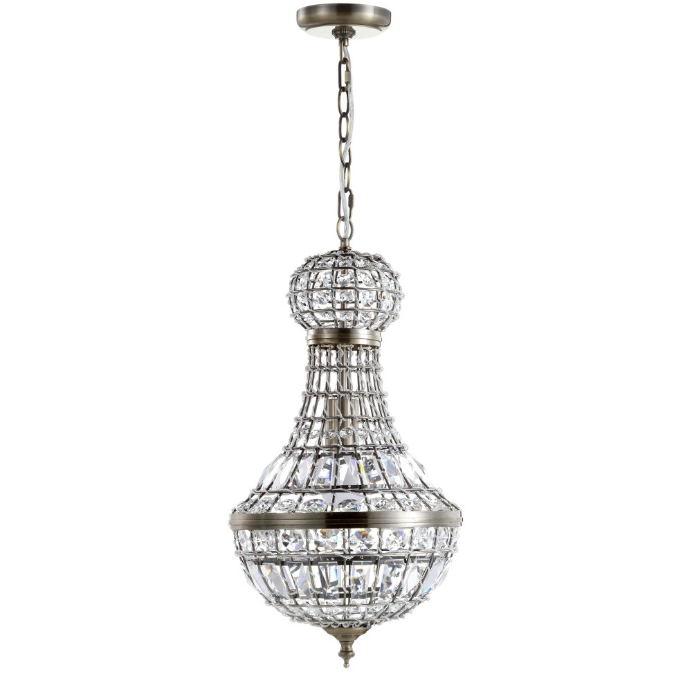 "Image of ""10"""" Regina Crystal/Metal Empire LED Chandelier Antique Brass - JONATHAN Y"""