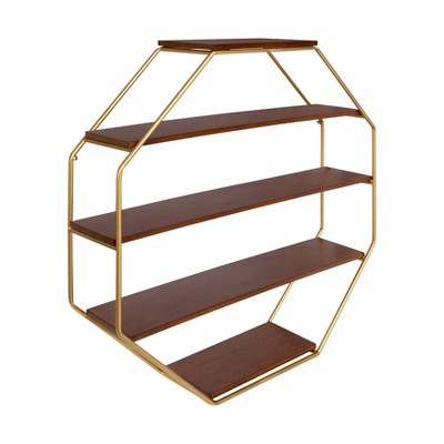 "30.5"" x 31"" Lintz Wood Octagon Floating Wall Shelves Walnut Brown/Gold - Kate and Laurel"
