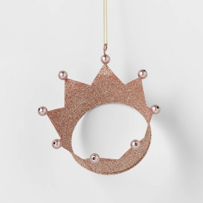 Glitter Crown Christmas Tree Ornament Blush - Wondershop™