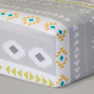 Fitted Crib Sheet Desert Dreams - Cloud Island™ Yellow/Gray