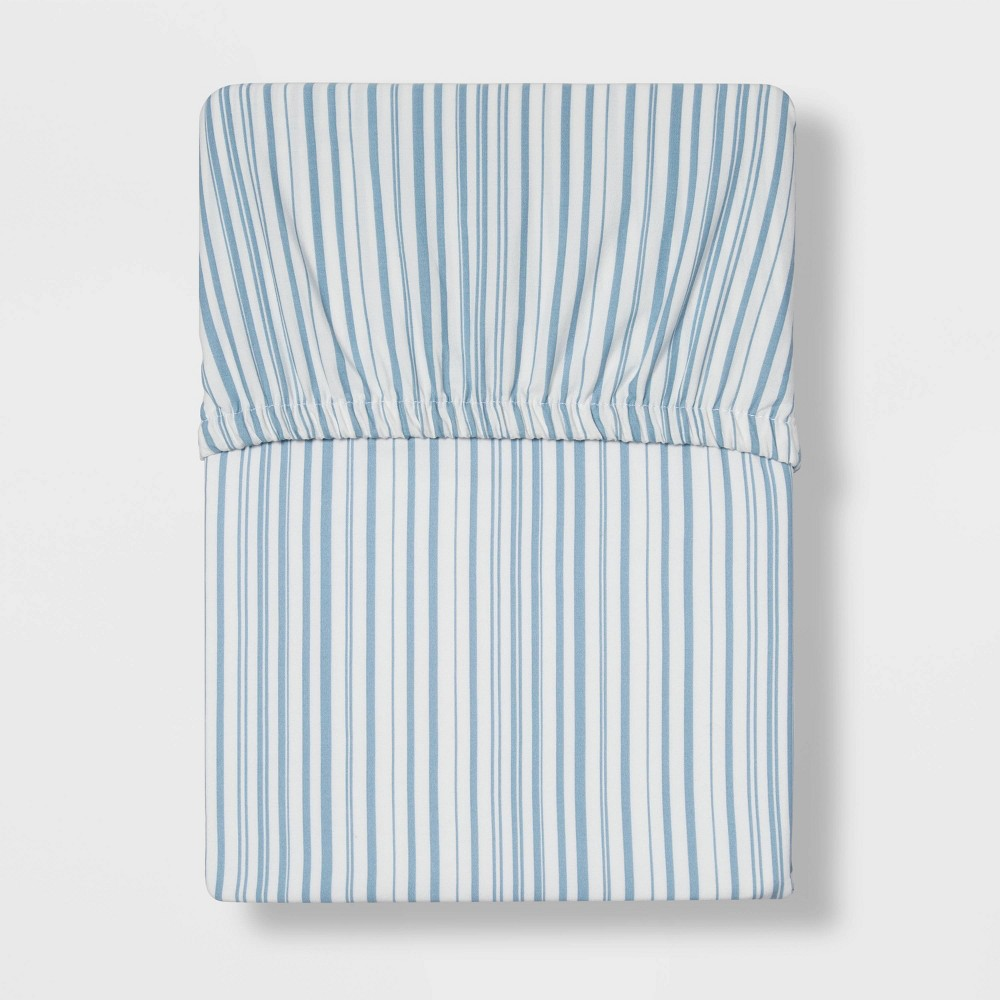 King 300 Thread Count Ultra Soft Fitted Sheet Blue Stripe Threshold 8482