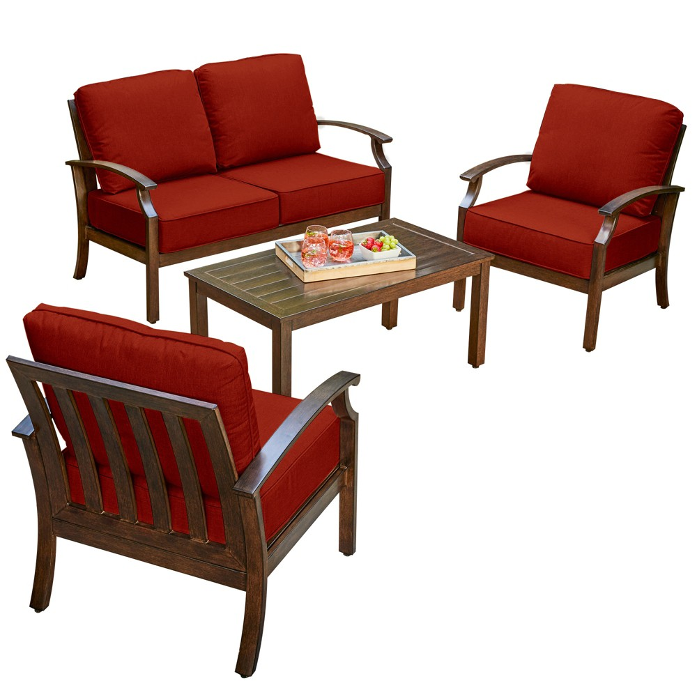 Image of 4pc Bridgeport Conversation Set Red - Royal Garden