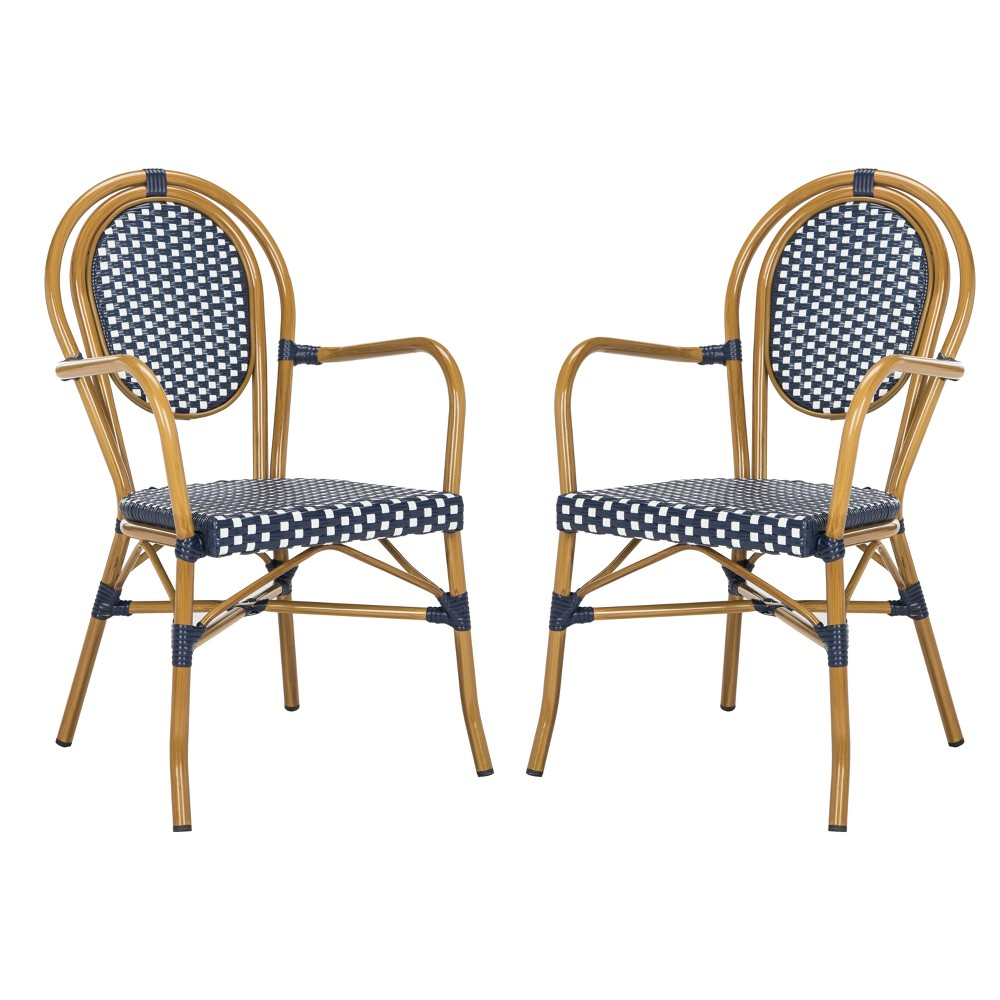 Rosen 2pk All-Weather Wicker Patio Stackable Arm Chair - Navy/White (Blue/White) - Safavieh