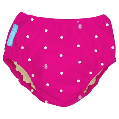 Charlie Banana Reusable Swim Diaper, Hot Pink/White Dot, L