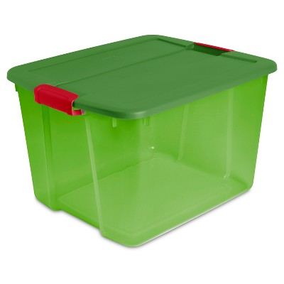 Sterilite 66qt Box - Green Tint with Green Lid and Red Latches