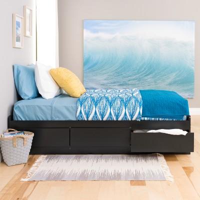 3 Drawers Mate's Twin Xl Platform Storage Bed Black - Prepac