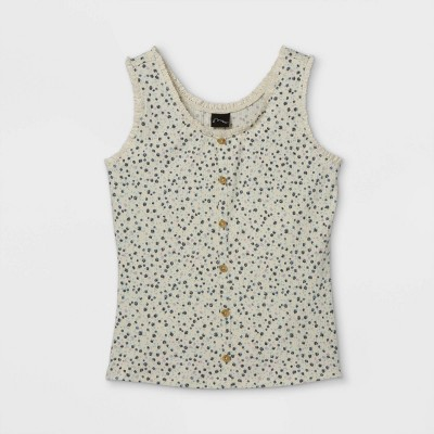 Girls' Rib-Knit Button-Front Lace Trim Tank Top - art class™