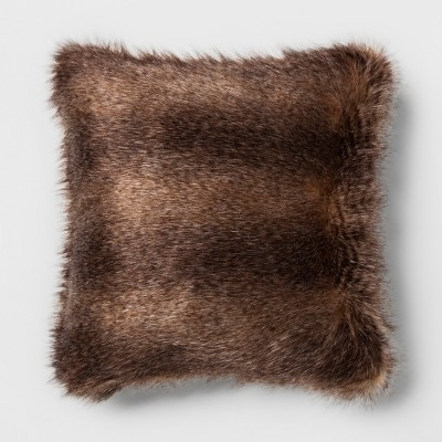 Long Striped Faux Fur Square Throw Pillow Brown - Project 62™ + Nate Berkus™