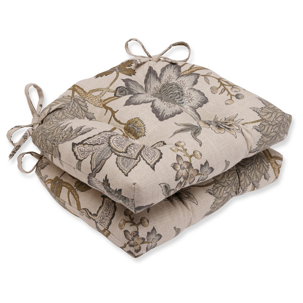 """Image of """"Gray Jacobean Flair Vermeil Reversible Chair Pad (Set Of 2) (16""""""""X15.5""""""""X4"""""""") - Pillow Perfect"""""""