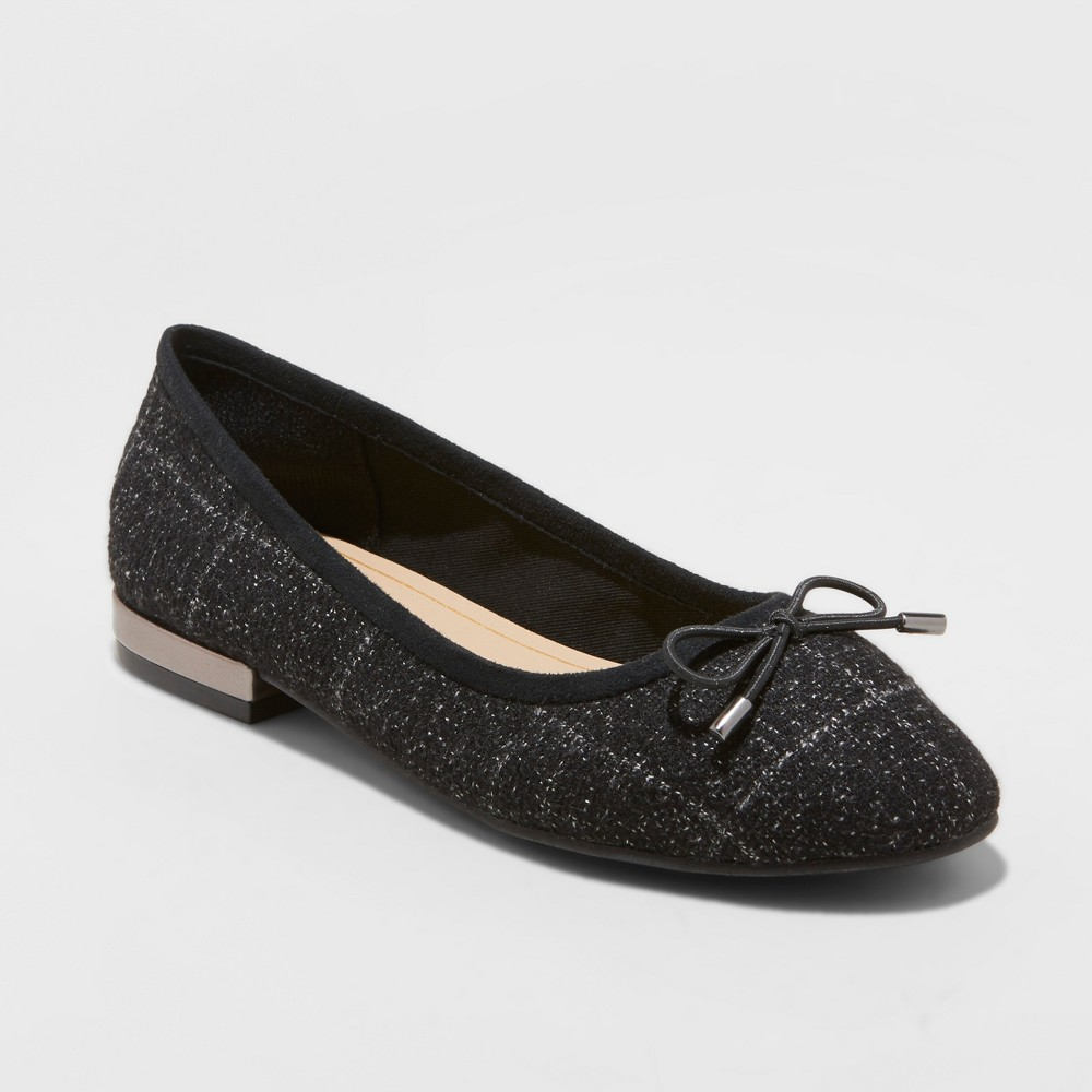 Women's Annalyn Microsuede Bow Ballet Flats - A New Day Black 11