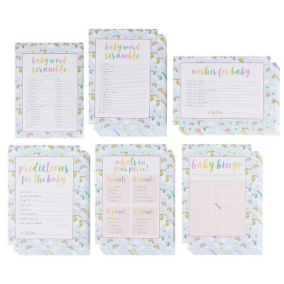 Juvale 5-Set Baby Shower Game Cards Party Activity Supplies Including Bingo Word Scramble Prediction and Well Wishes Rainbow Unicorn Design 50 Guests