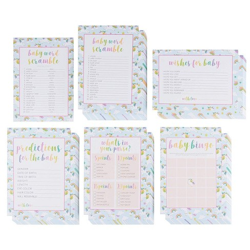 5-Set Baby Shower Game Cards, Party Activity Supplies Including Bingo, Word Scramble, Prediction and Well Wishes, Rainbow Unicorn Design, 50 Guests - image 1 of 3