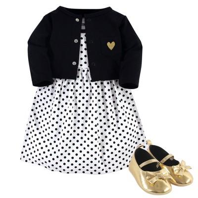 Hudson Baby Infant Girl Cotton Dress, Cardigan and Shoe 3pc Set, Black Dot