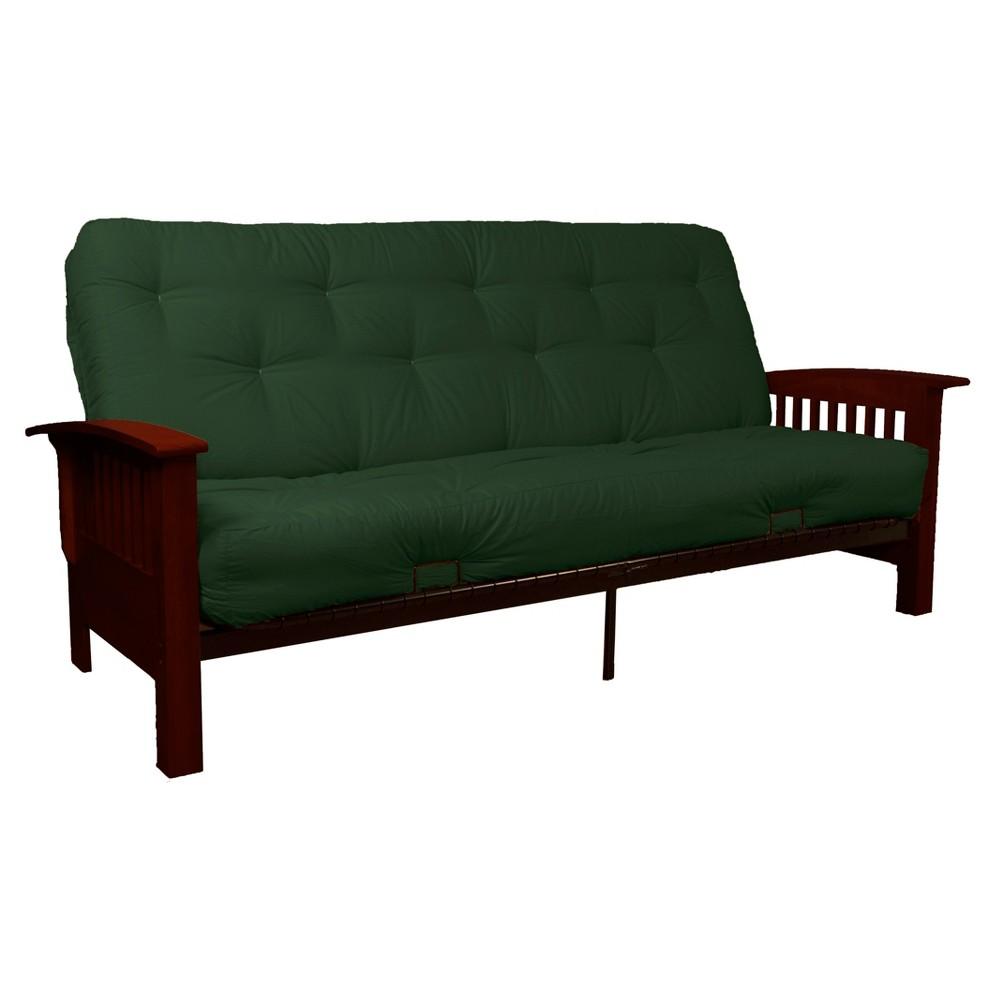 8 Craftsman Inner Spring Futon Sofa Sleeper Mahogany Wood Finish Forest (Green) - Epic Furnishings