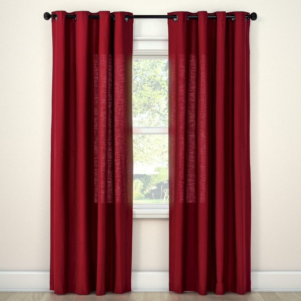 Natural Solid Curtain Panel Ruby Ring (54