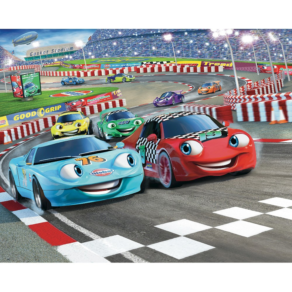 Walltastic Car Racers Mural, Multi-Colored