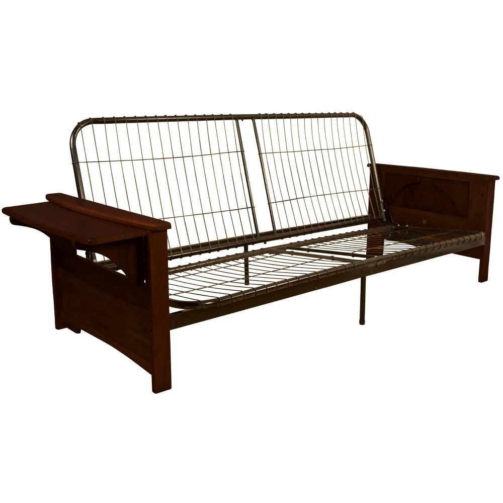 Brooklyn Futon Sofa Sleeper Bed Frame - Epic Furnishings, Brandywine Finish Wood Arm