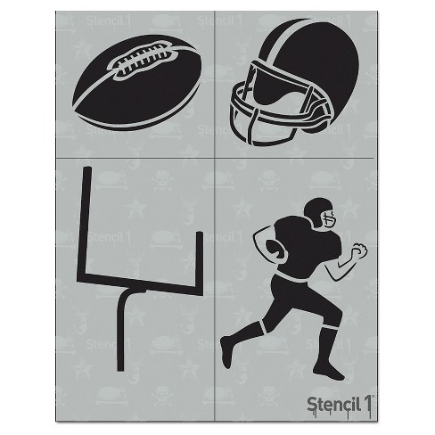 """Stencil1 Football Multipack 4ct - Stencil 8.5"""" x 11"""" - image 1 of 3"""
