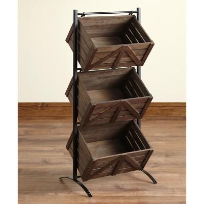 Lakeside Triple Basket Storage Rack Rustic Shelving Unit with Farmhouse Look