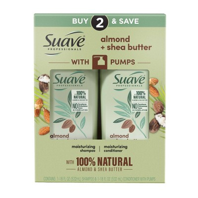 Suave Professionals Moisturizing Shampoo and Conditioner for Dry Hair Almond and Shea Butter - 18 fl oz/2ct