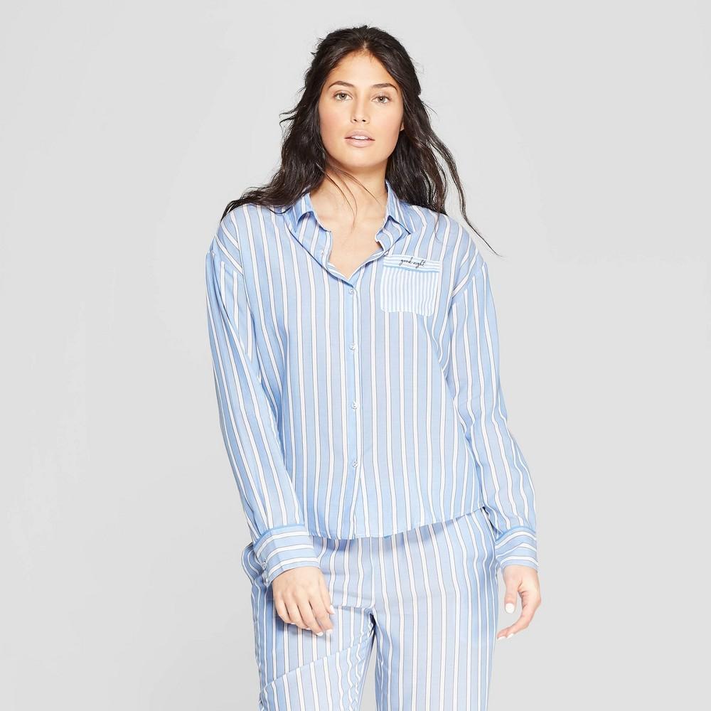 Women's Striped Simply Cool Long Sleeve Button-Up Shirt - Stars Above Blue Xxl