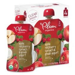 Plum Organics Stage 2 Organic Baby Food, Apple, Raspberry, Spinach & Greek Yogurt - 3.5oz (Pack of 4)