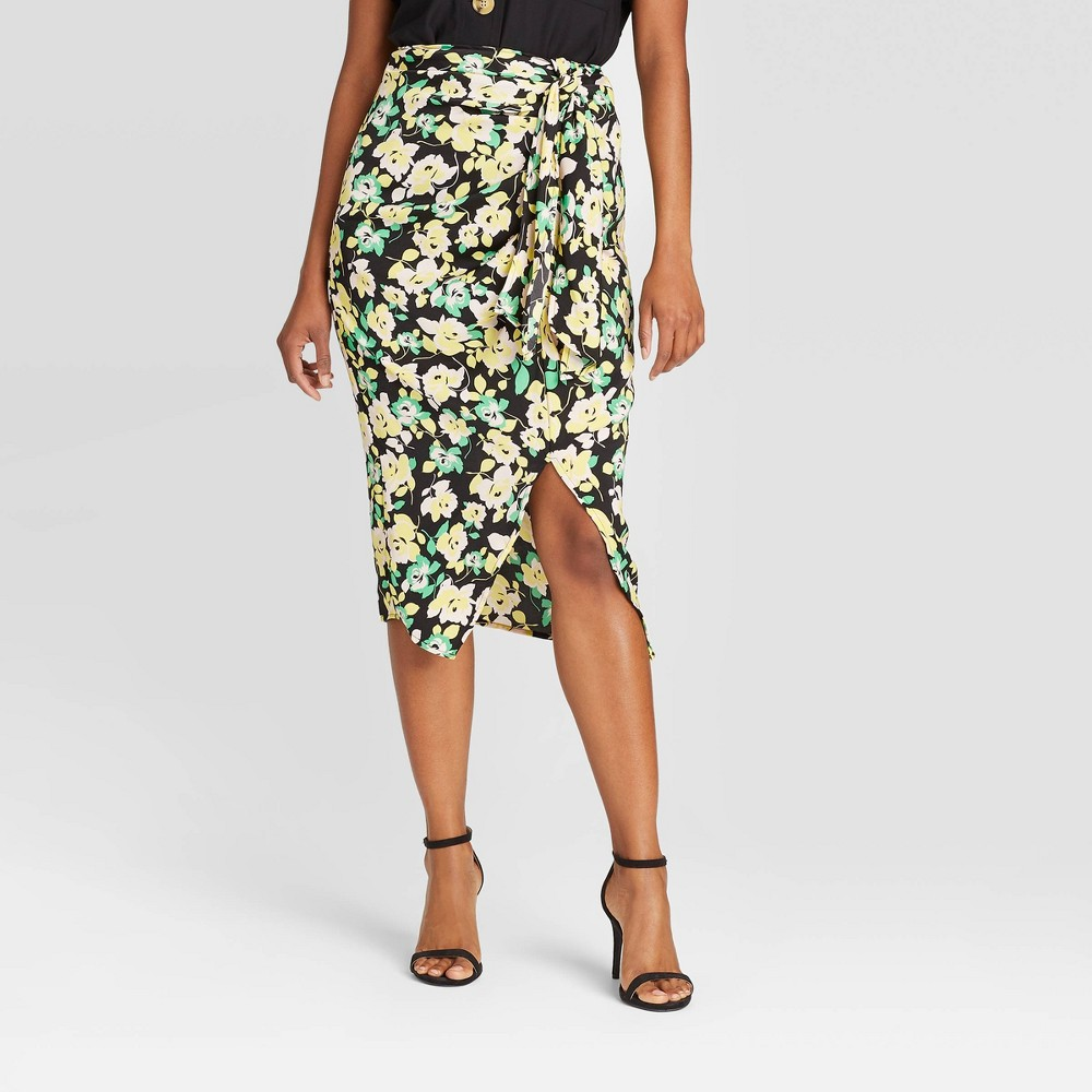 Women's Floral Print Mid-Rise Faux Tie Slip Asymmetrical Midi Skirt - Who What Wear Black 8 was $29.99 now $20.99 (30.0% off)