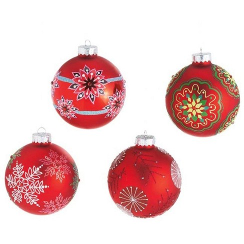 Ganz Set Of 4 Dazzling Red Snowflake Design Glass Ball Christmas Ornaments 3 5