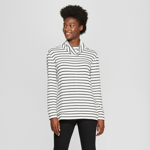 Women's Striped Long Sleeve Cozy Cowl Neck Top - A New Day™ Cream/Black - image 1 of 3