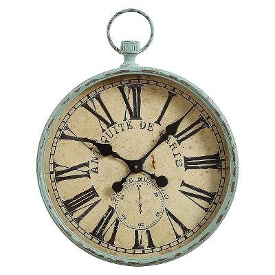 "19"" x 24.5"" Iron Pocket Watch Wall Clock Aqua - 3R Studios"