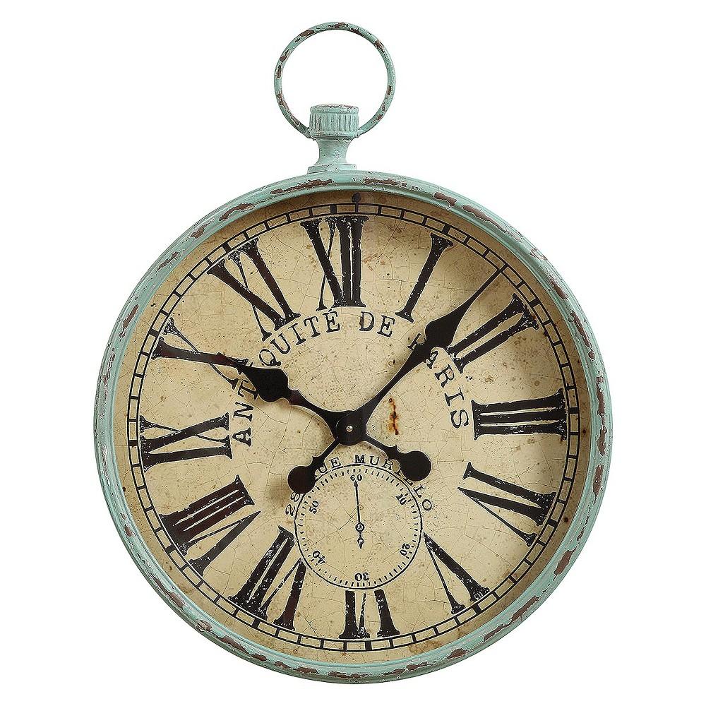 Image of 22 Iron Pocket Watch Wall Clock Green Patina - 3R Studios, Turquoise