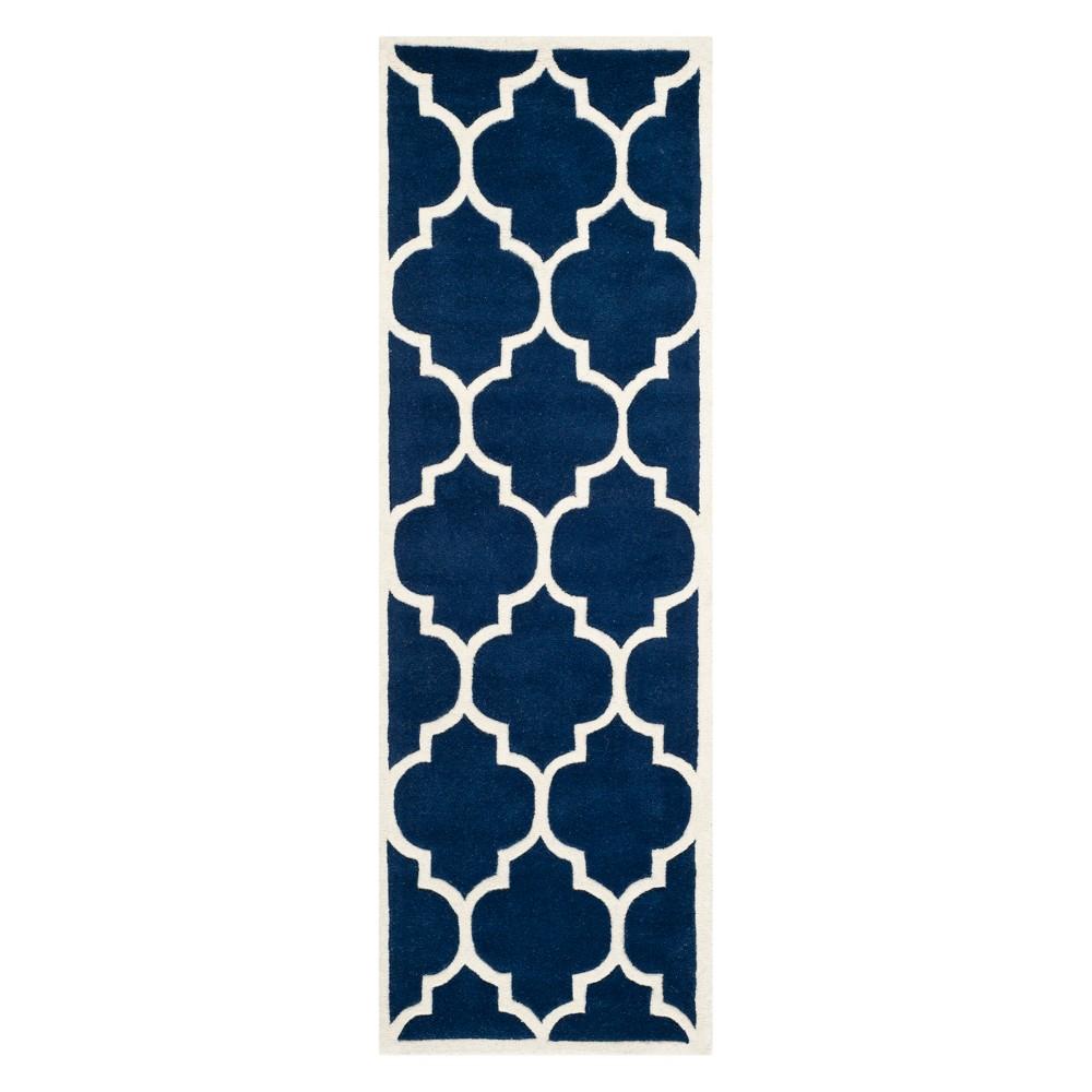 2'3X11' Quatrefoil Design Tufted Runner Dark Blue/Ivory - Safavieh