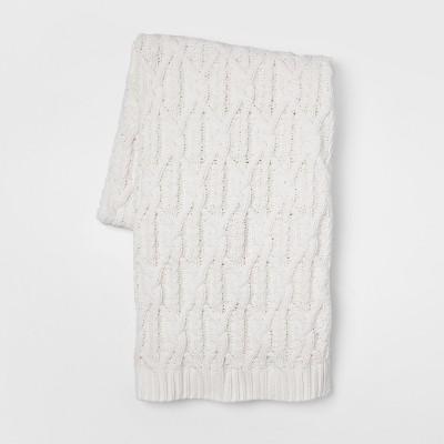 60 x50  Knit Chenille Throw Blanket Cream - Threshold™