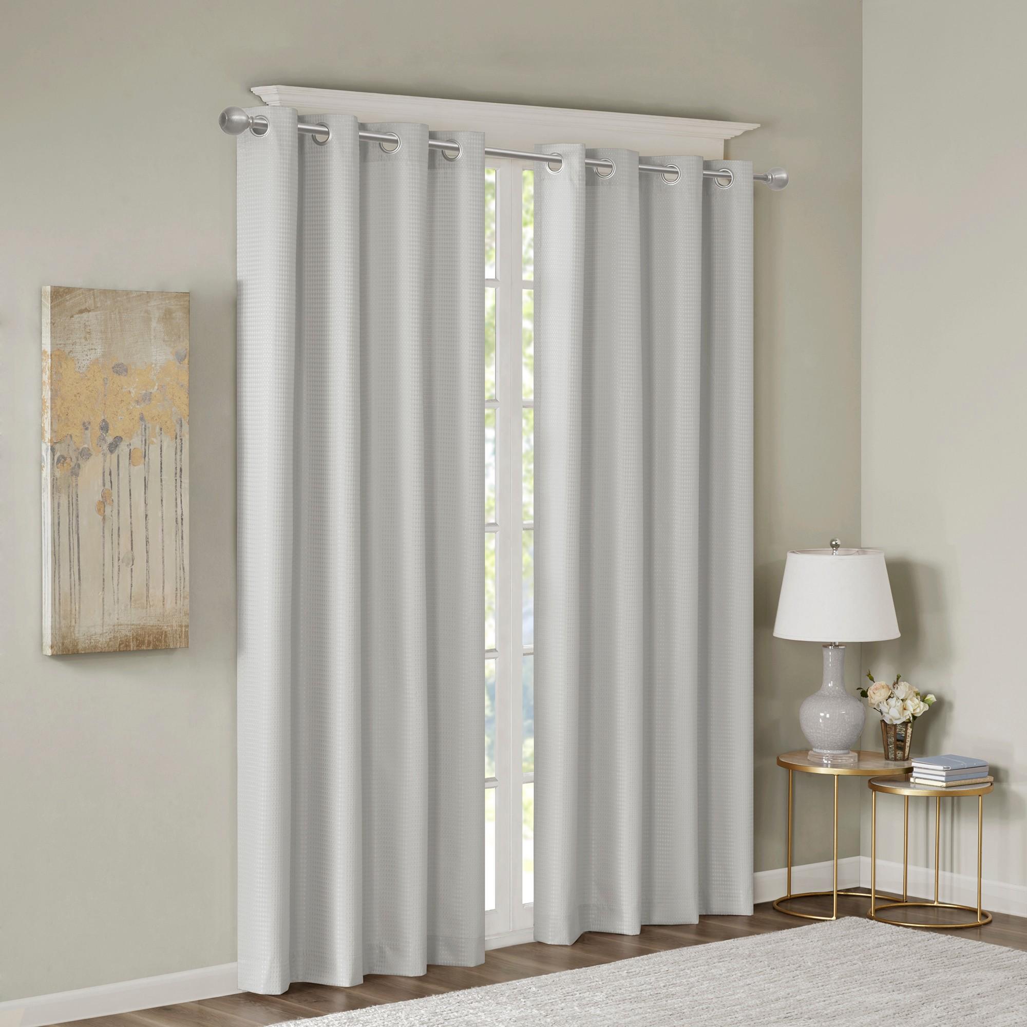 Lexie Jacquard Solid Room Darkening Panel Gray 50x95