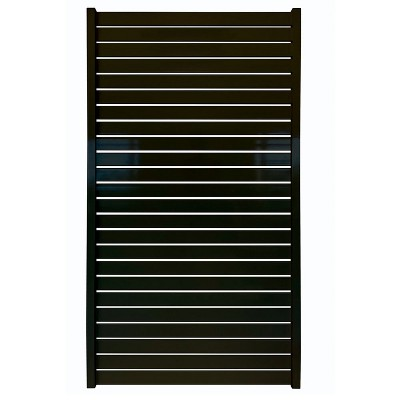 Stratco SC-10660 71 x 39 Inch Powder-Coated Aluminum Quick Screen, Non-Weld Adjustable Outdoor Horizontal Slat Gate Fencing, Black