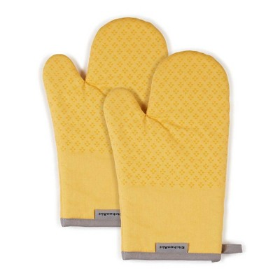 "KitchenAid 2pk 7""X12.5"" Asteroid Oven Mitts Yellow"
