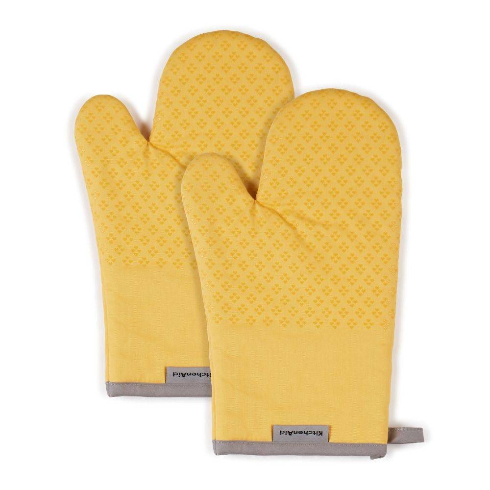 "Image of ""KitchenAid 2pk 7""""X12.5"""" Asteroid Oven Mitts Yellow"""