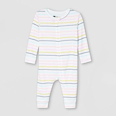 Baby Pastel Striped 100% Cotton Matching Family Pajama Union Suit - Cream