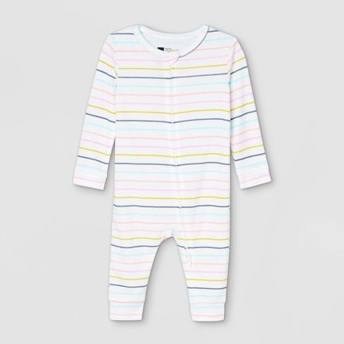 Baby Pastel Striped 100% Cotton Matching Family Pajama Union Suit - Cream - image 1 of 2