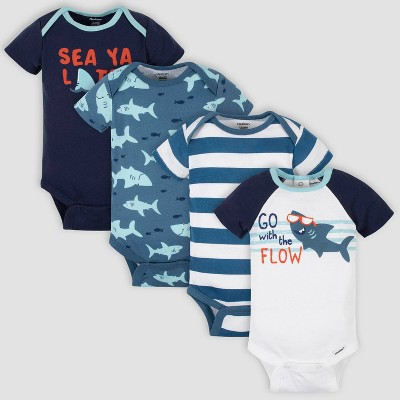 Gerber Baby Boys' 4pk Sharks Short Sleeve Onesies - White/Blue 0-3M