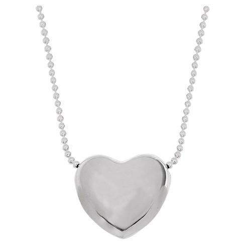 "Women's Heart Pendant in Sterling Silver on Beaded Chain -Silver (16-18"") - image 1 of 1"