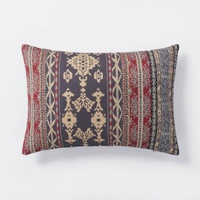Oversized Woven Pattern Lumbar Throw Pillow Blue/Burgundy - Threshold™ designed with Studio McGee