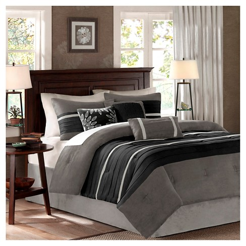 Black/Gray Dakota Microsuede Comforter Set Queen 7pc 7pc ...