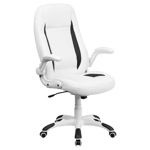 Executive Swivel Office Chair White Leather - Flash Furniture - image 1 of 4