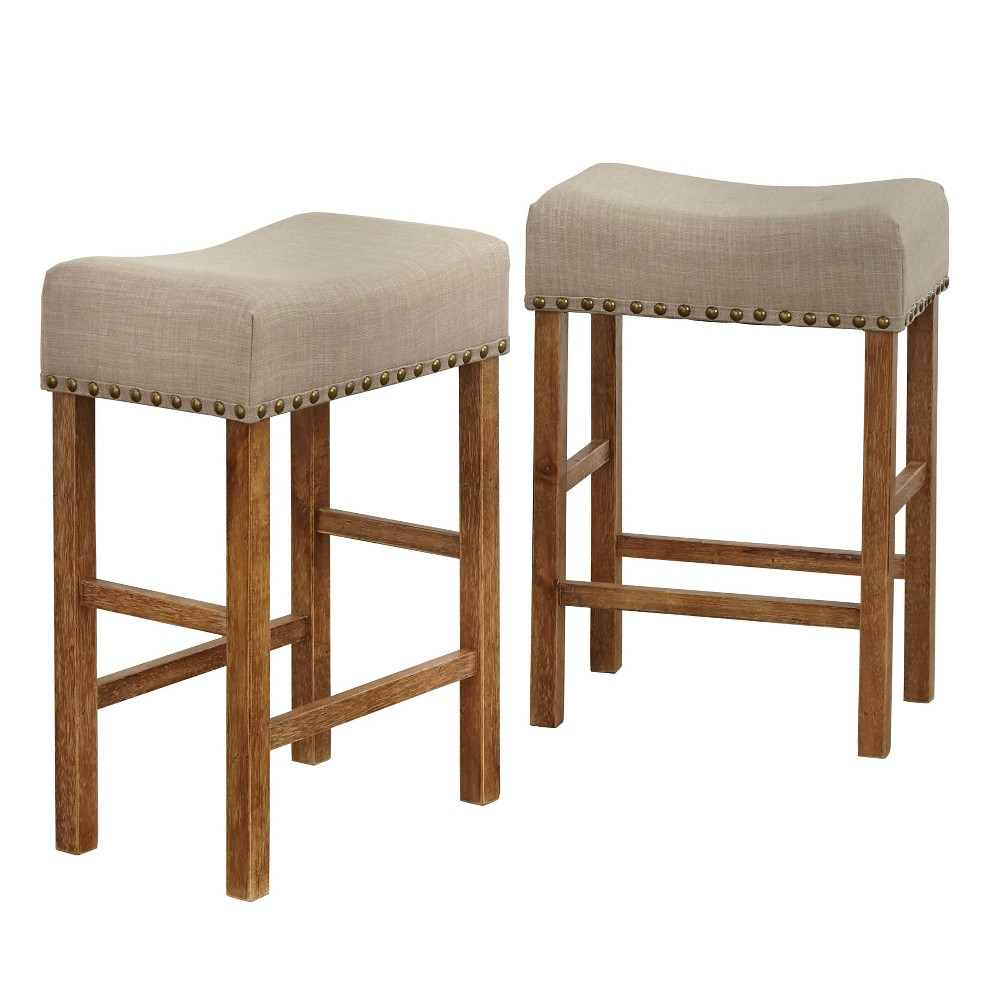 Astounding 24 Hathaway Nailhead Saddle Stool Driftwood Buylateral Machost Co Dining Chair Design Ideas Machostcouk