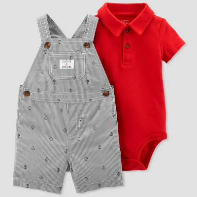 Baby Boys' 2pc Stripe Anchors Shortall Set - Just One You® made by carter's Red/Gray 3M