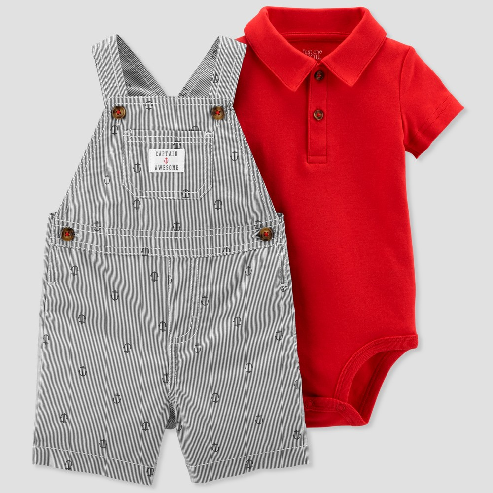 Baby Boys' 2pc Stripe Anchors Shortall Set - Just One You made by carter's Red/Gray Newborn, Blue