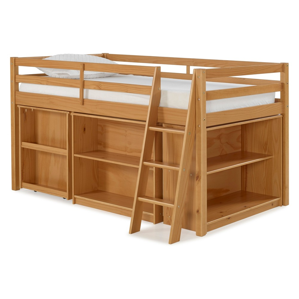 Roxy Junior Loft Bed With Pull-out Desk, Shelving And Bookcase Desk Cinnamon (Red)