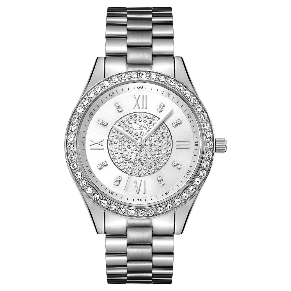 Image of Women's JBW J6303A Mondrian Japanese Movement Stainless Steel Real Diamond Watch - Silver, Women's, Size: Small